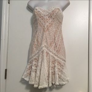 Angel Biba lace and nude strapless dress small
